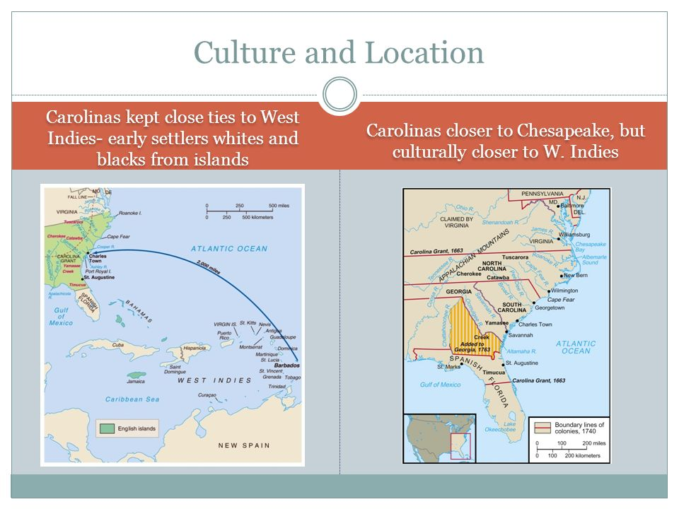 Carolinas closer to Chesapeake, but culturally closer to W. Indies