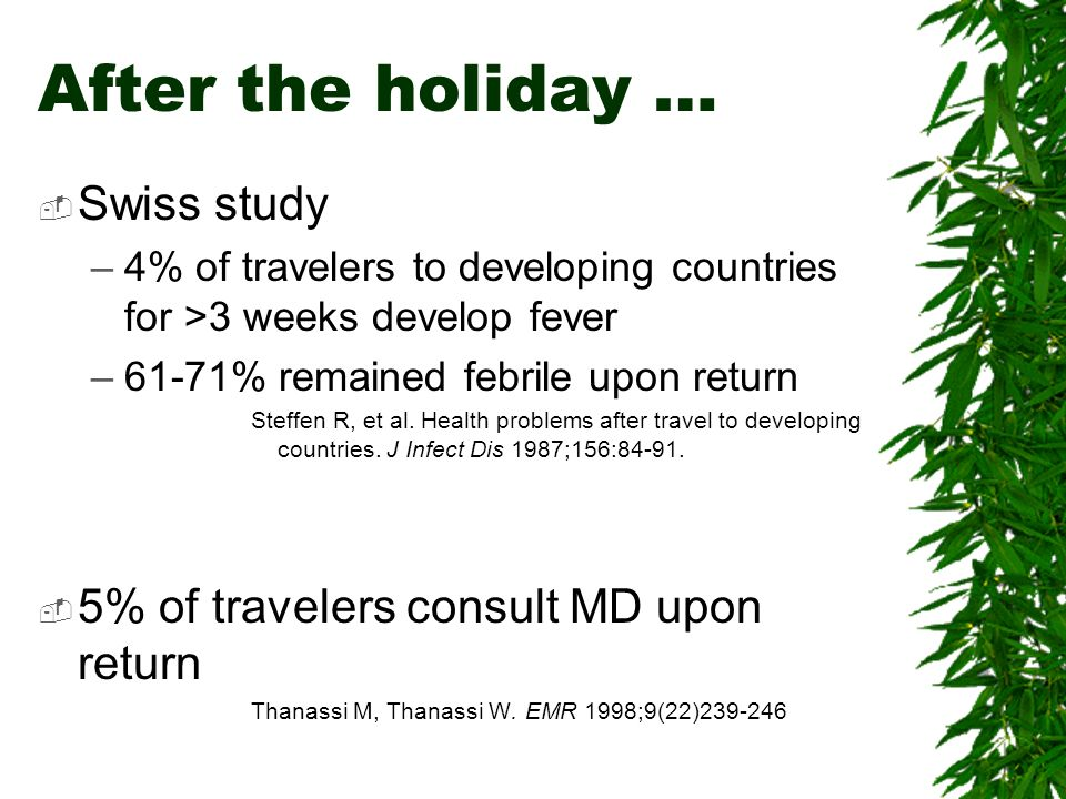 After the holiday … Swiss study 5% of travelers consult MD upon return