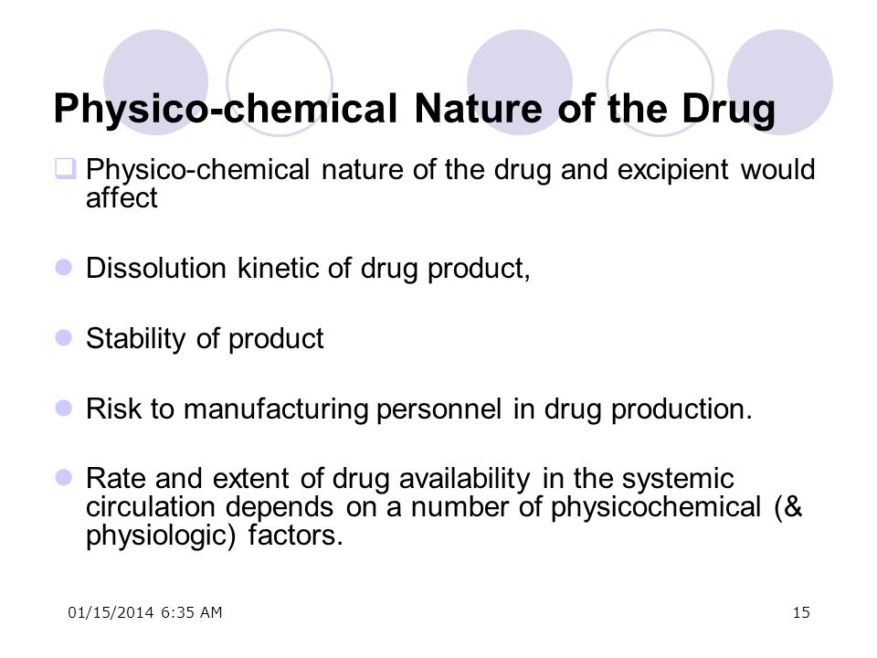 Physico-chemical Nature of the Drug