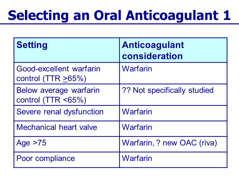 Selecting an Oral Anticoagulant 1