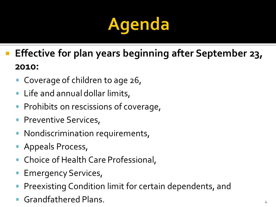 Agenda Effective for plan years beginning after September 23, 2010: