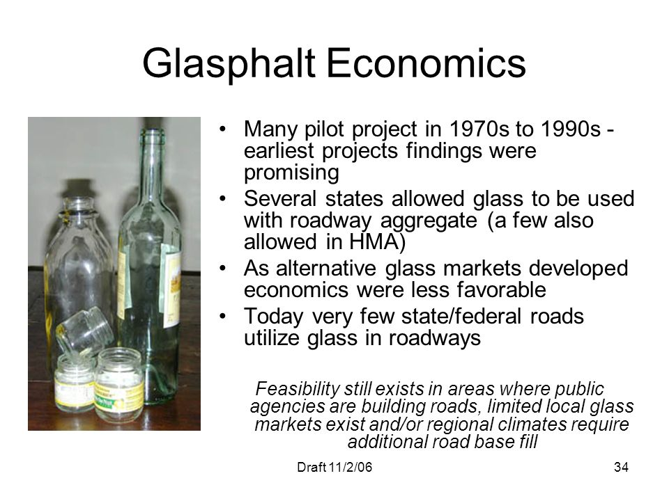 Glasphalt Economics Many pilot project in 1970s to 1990s - earliest projects findings were promising.