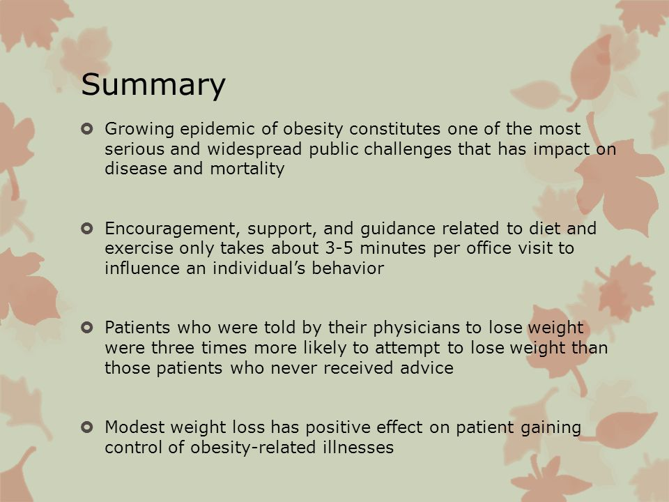 Summary Growing epidemic of obesity constitutes one of the most serious and widespread public challenges that has impact on disease and mortality.