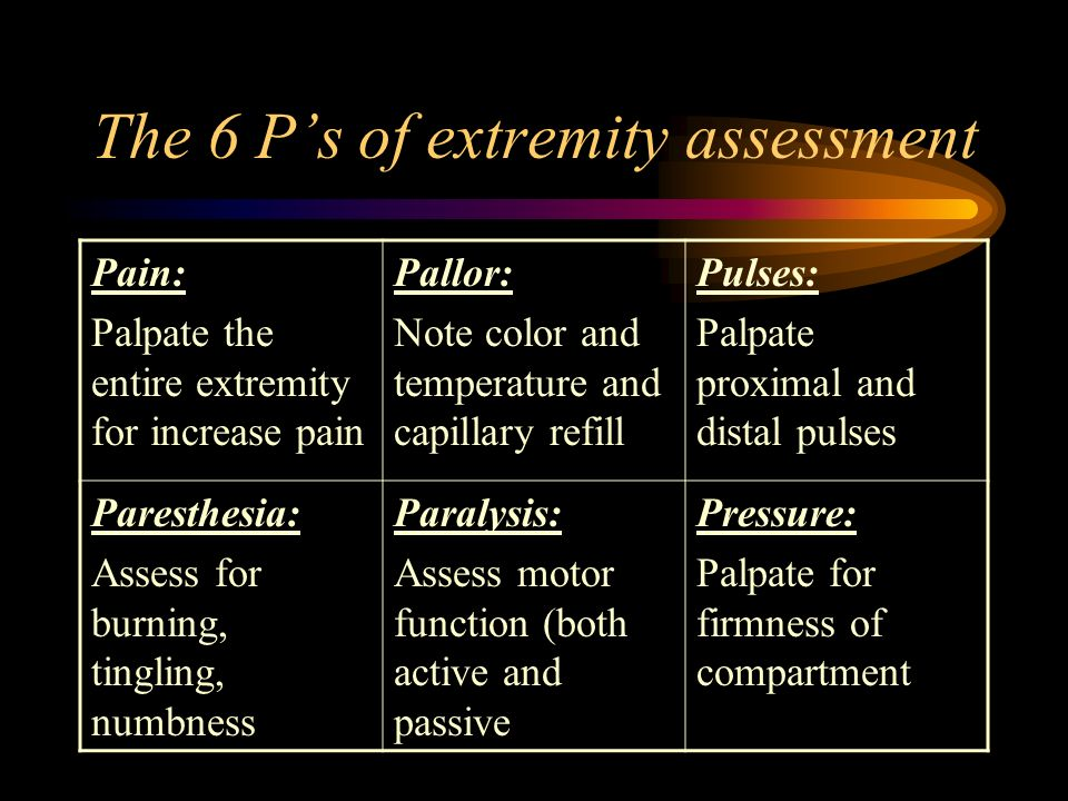 The 6 P's of extremity assessment