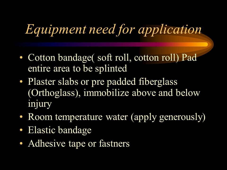 Equipment need for application