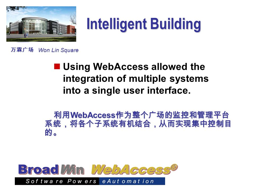 Intelligent Building 万霖广场. Won Lin Square. Using WebAccess allowed the integration of multiple systems into a single user interface.