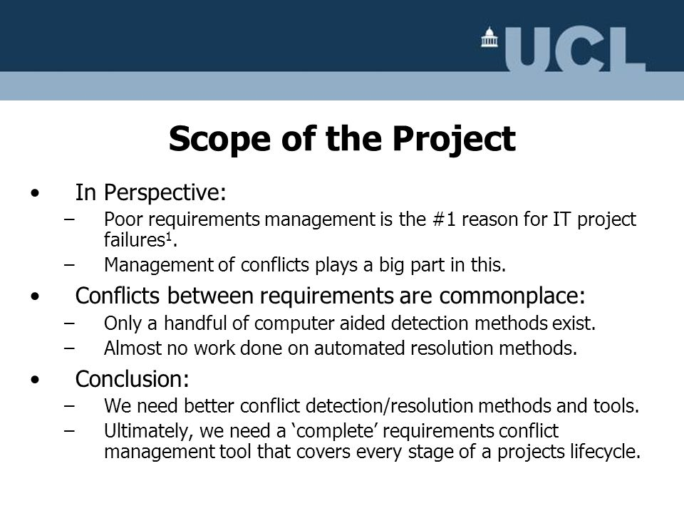 Scope of the Project In Perspective: