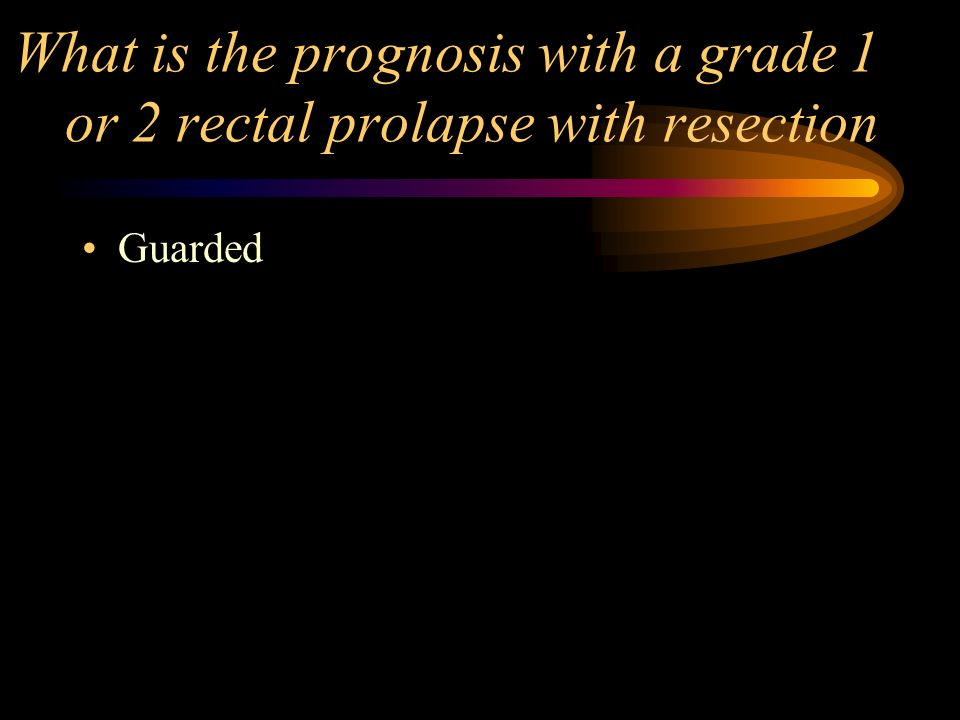 What is the prognosis with a grade 1 or 2 rectal prolapse with resection