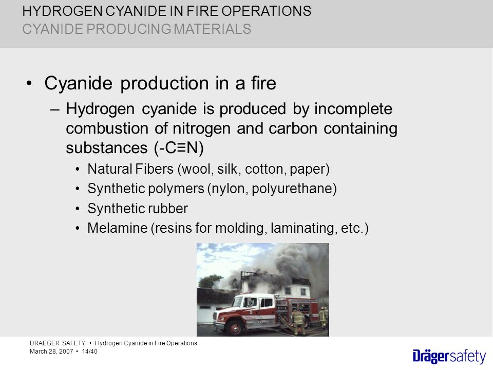 Cyanide production in a fire