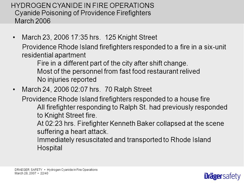 Cyanide Poisoning of Providence Firefighters March 2006