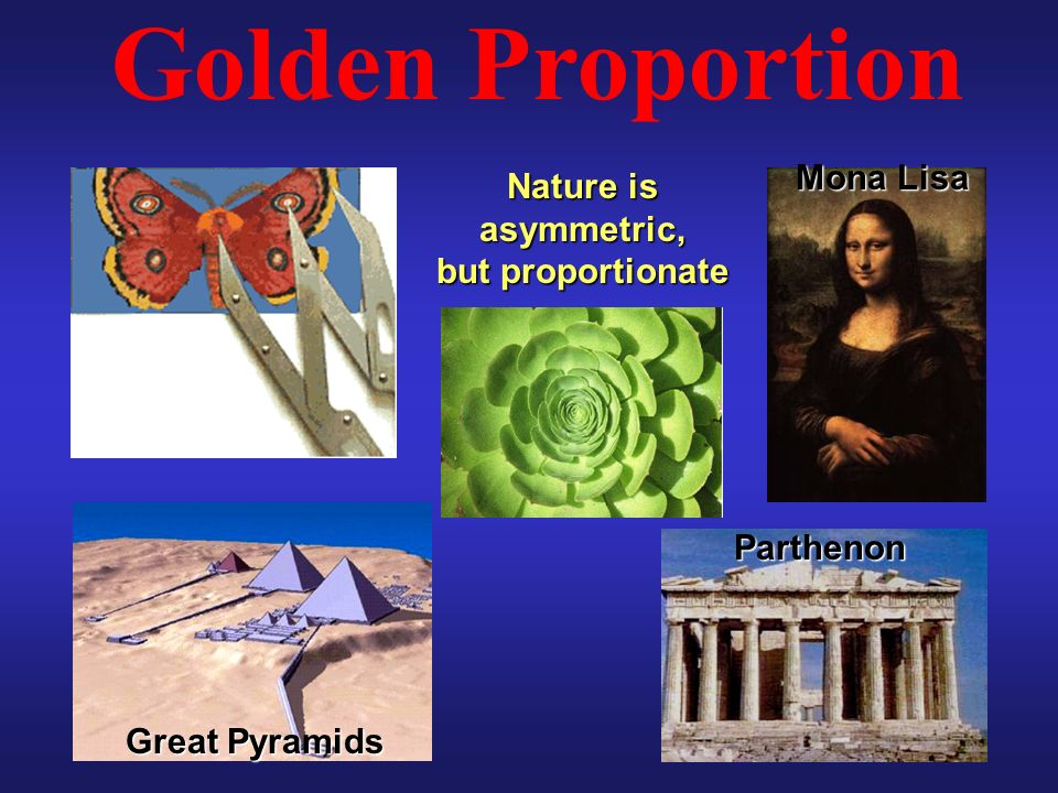 Golden Proportion Mona Lisa Nature is asymmetric, but proportionate
