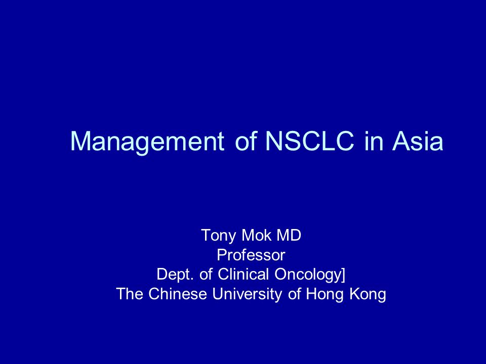 Management of NSCLC in Asia