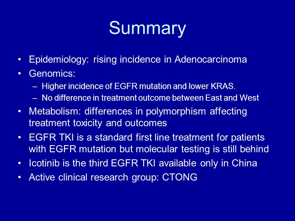 Summary Epidemiology: rising incidence in Adenocarcinoma Genomics: