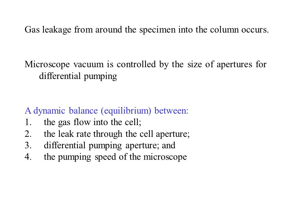 Gas leakage from around the specimen into the column occurs.
