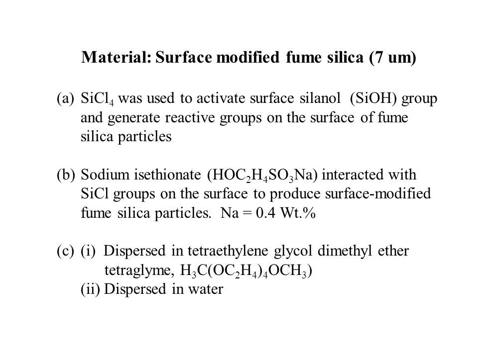 Material: Surface modified fume silica (7 um)
