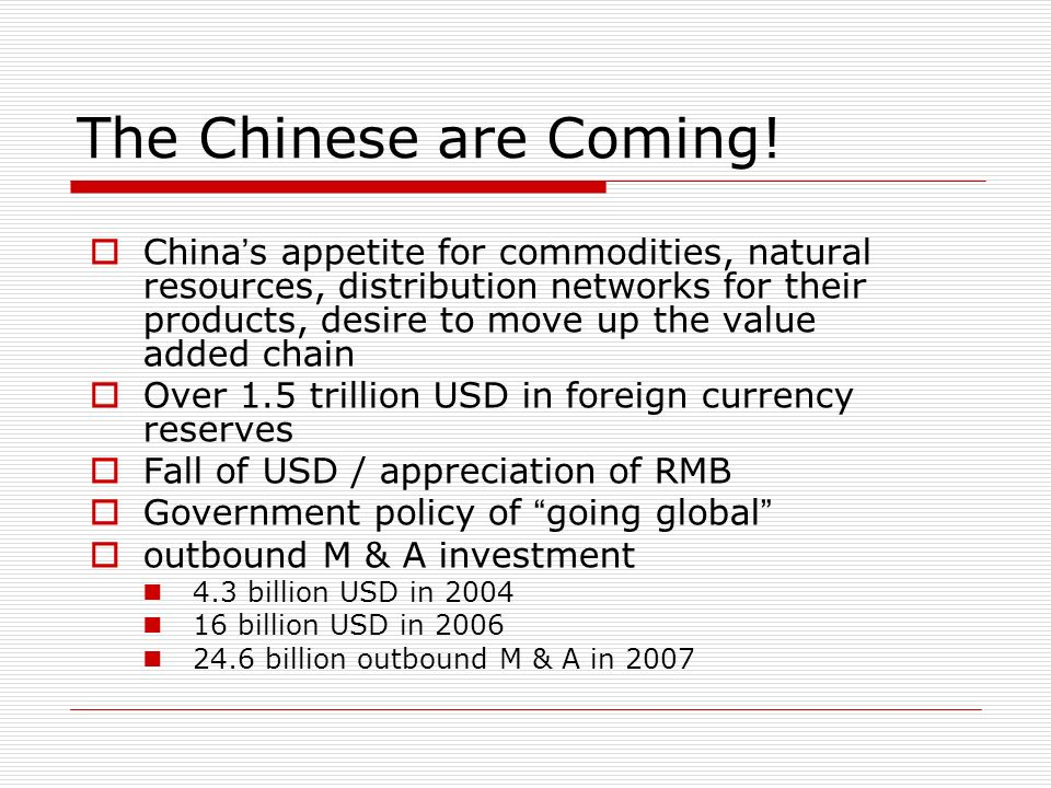 The Chinese are Coming!