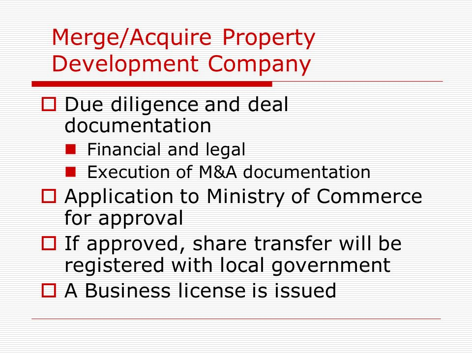 Merge/Acquire Property Development Company