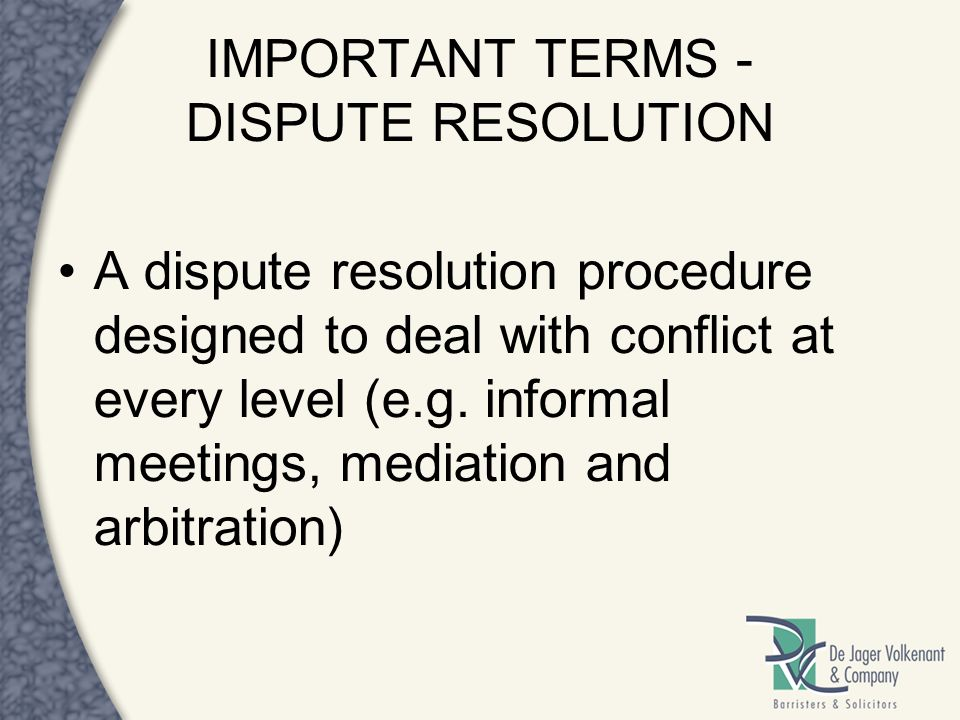 IMPORTANT TERMS - DISPUTE RESOLUTION