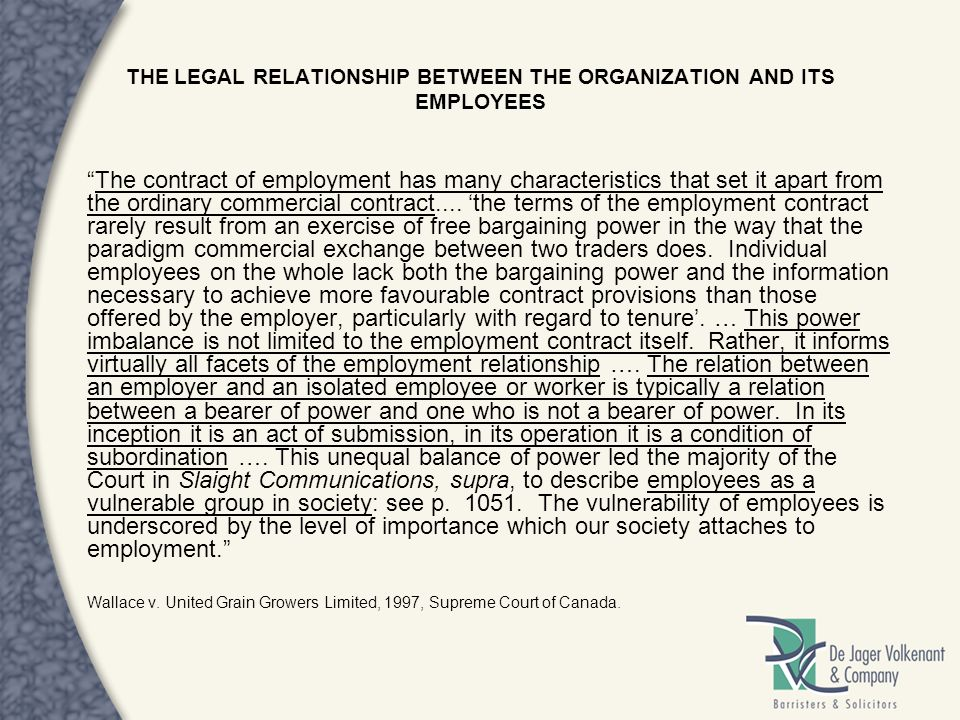 THE LEGAL RELATIONSHIP BETWEEN THE ORGANIZATION AND ITS EMPLOYEES