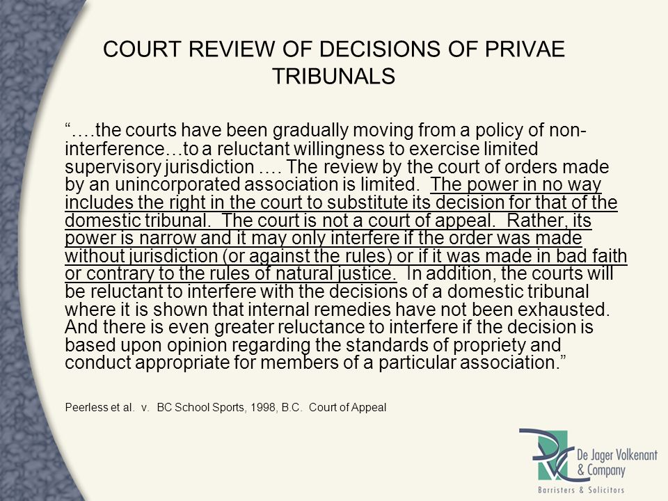 COURT REVIEW OF DECISIONS OF PRIVAE TRIBUNALS