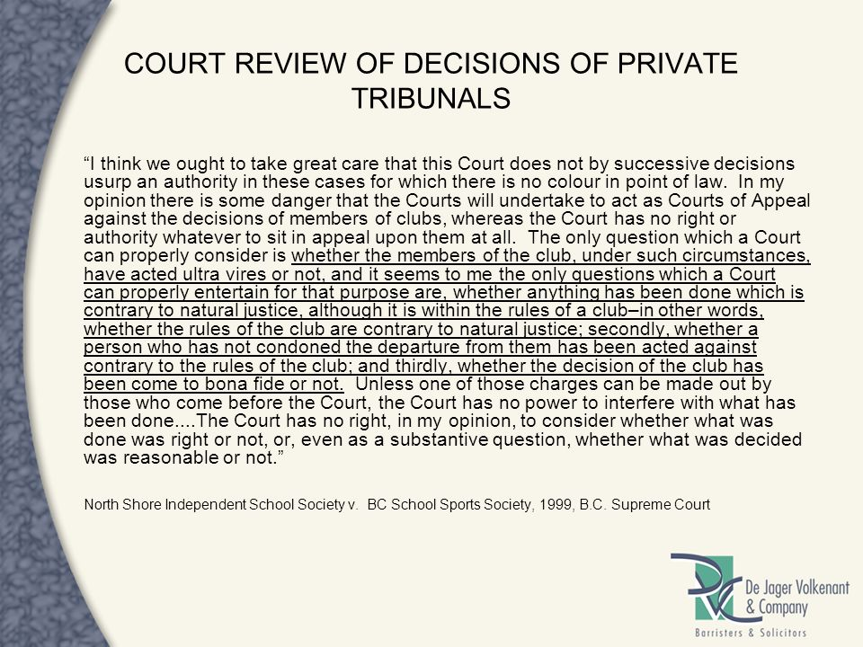 COURT REVIEW OF DECISIONS OF PRIVATE TRIBUNALS