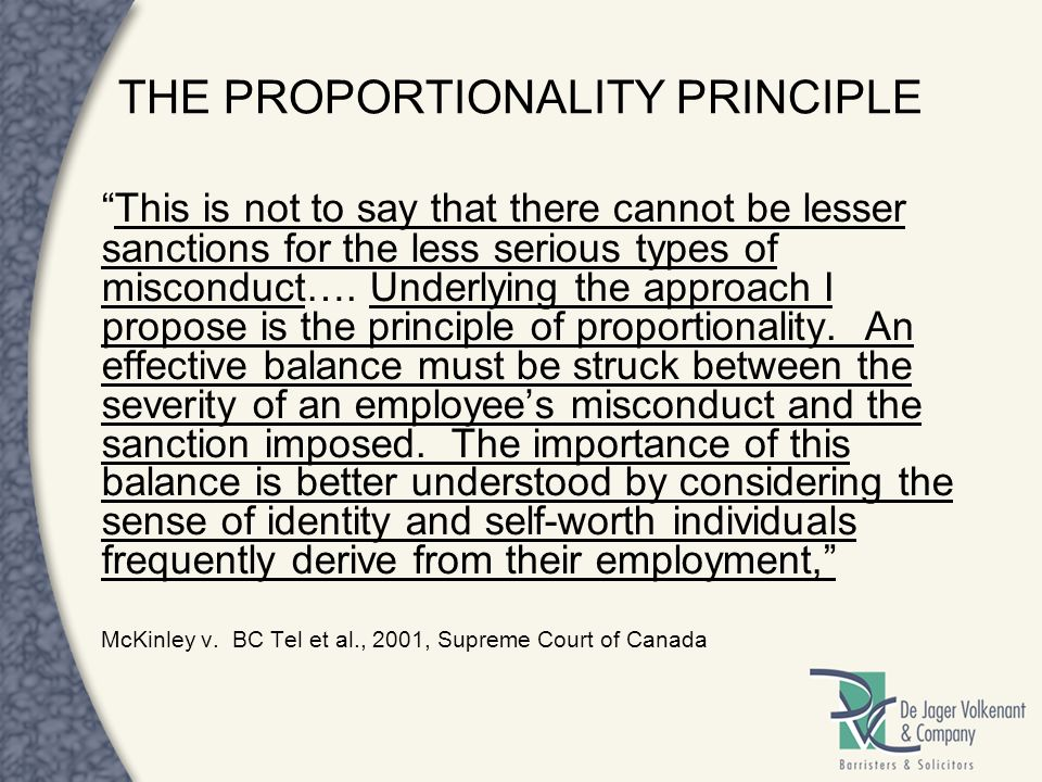 THE PROPORTIONALITY PRINCIPLE