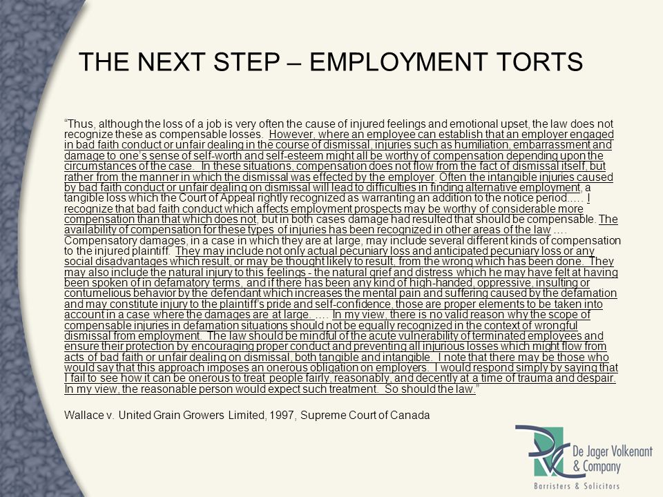 THE NEXT STEP – EMPLOYMENT TORTS