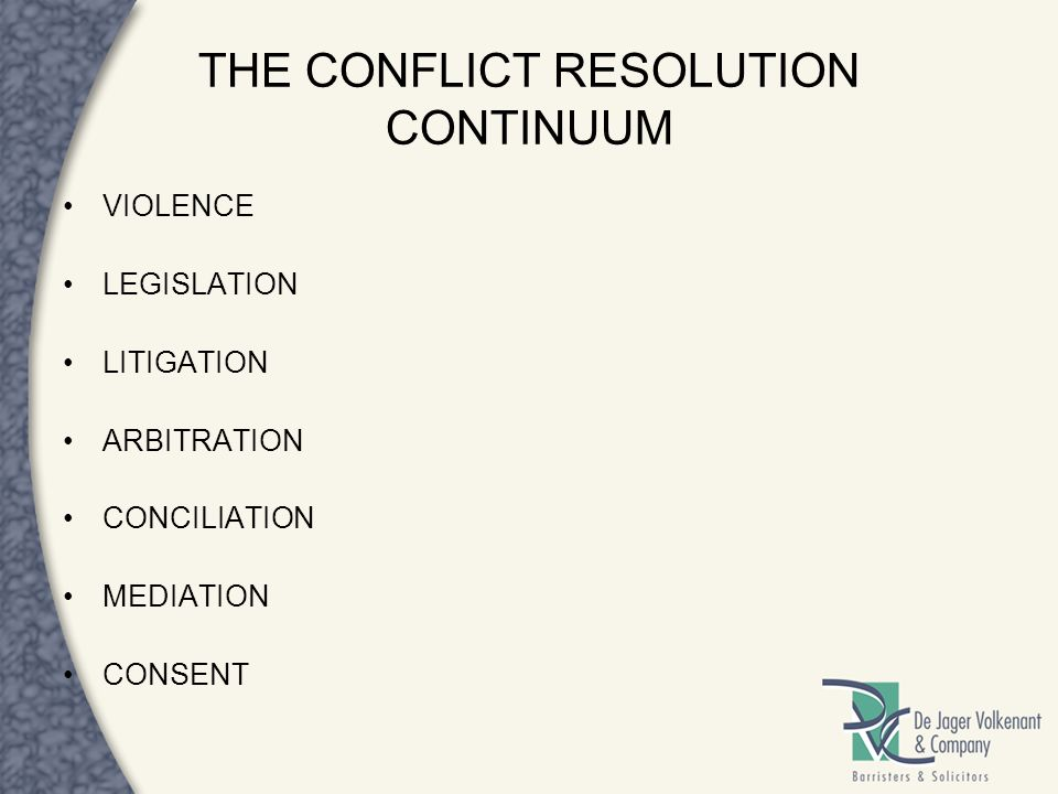 THE CONFLICT RESOLUTION CONTINUUM