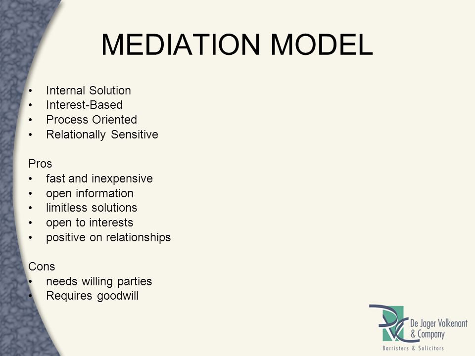 MEDIATION MODEL Internal Solution Interest-Based Process Oriented