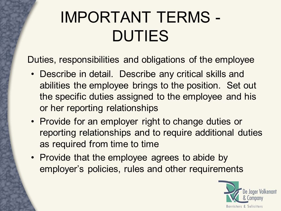IMPORTANT TERMS - DUTIES
