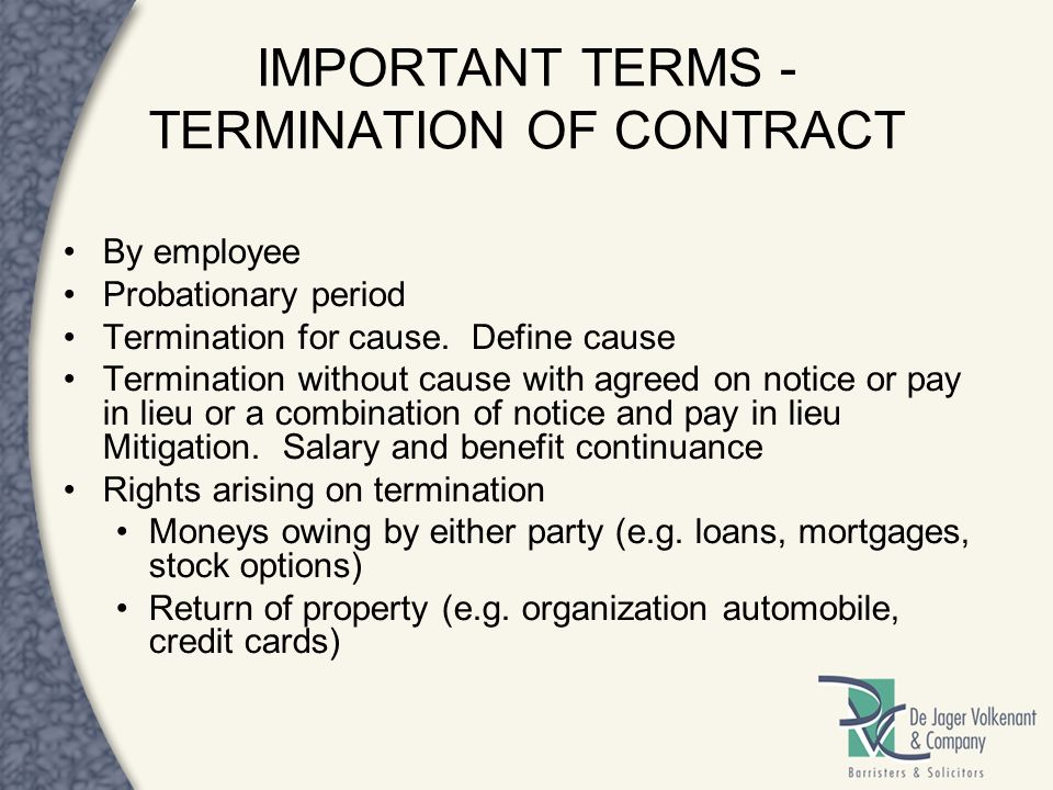IMPORTANT TERMS - TERMINATION OF CONTRACT