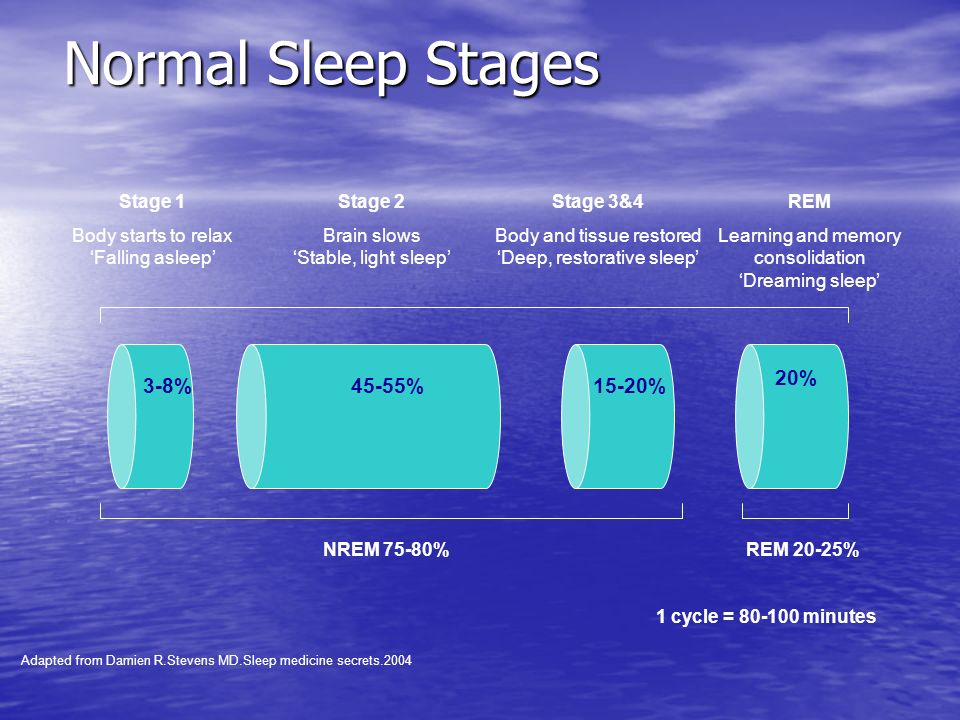 Normal Sleep Stages 3-8% 45-55% 15-20% 20% REM