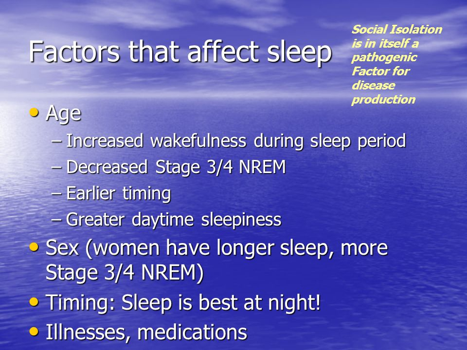 Factors that affect sleep