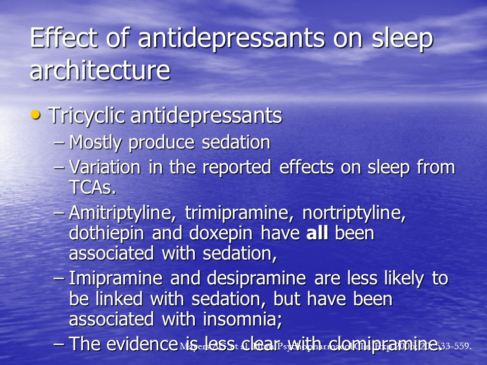 Effect of antidepressants on sleep architecture