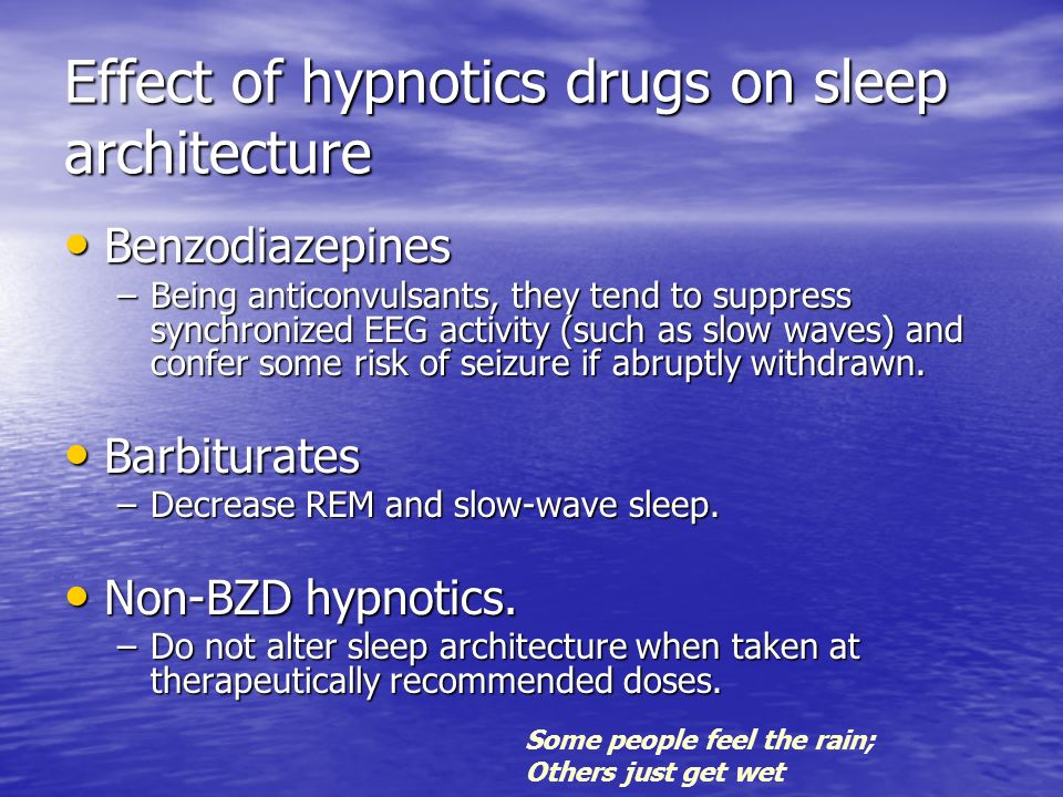 Effect of hypnotics drugs on sleep architecture