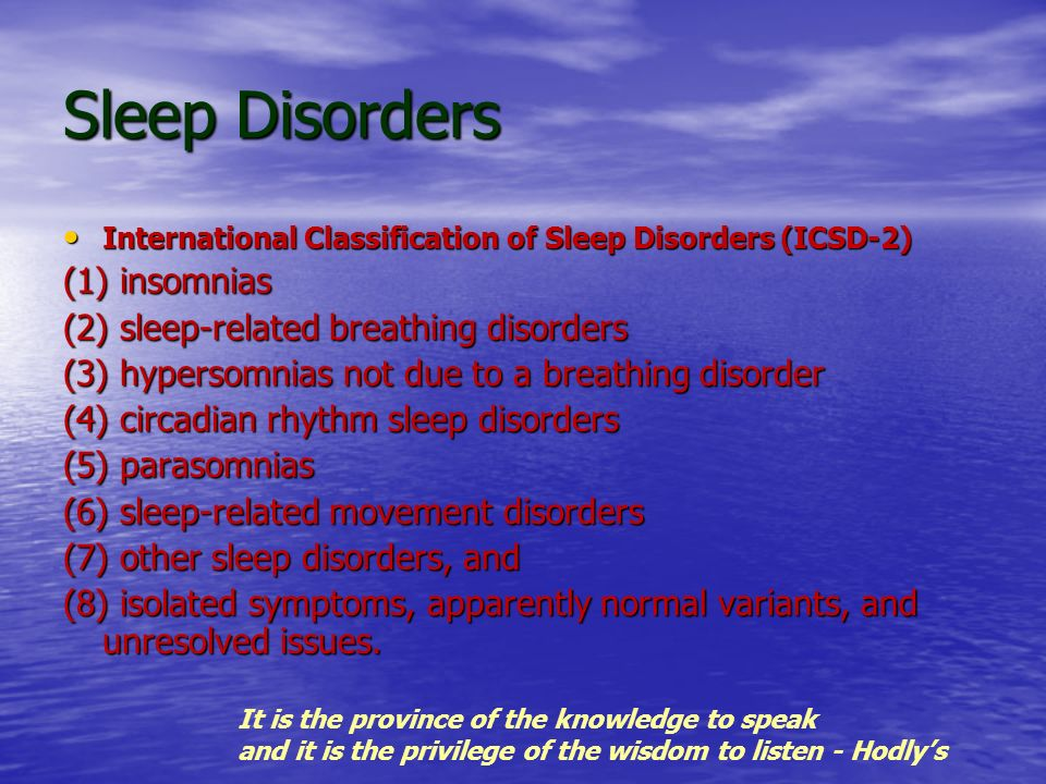 Sleep Disorders (1) insomnias (2) sleep-related breathing disorders
