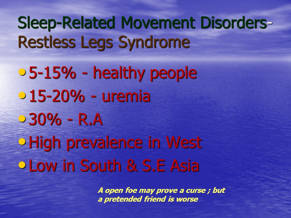 Sleep-Related Movement Disorders- Restless Legs Syndrome