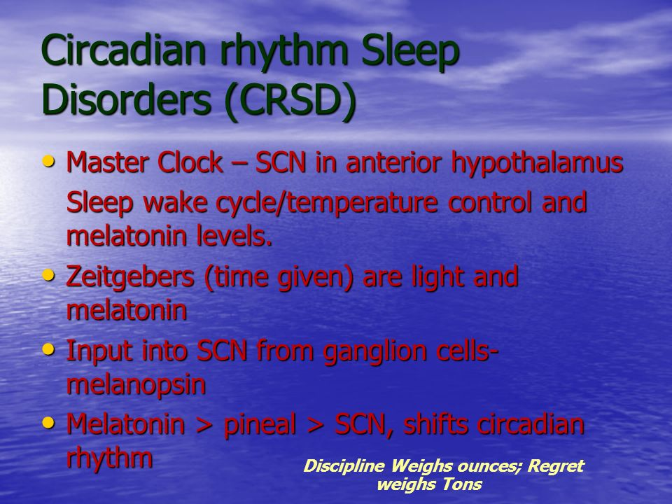 Circadian rhythm Sleep Disorders (CRSD)