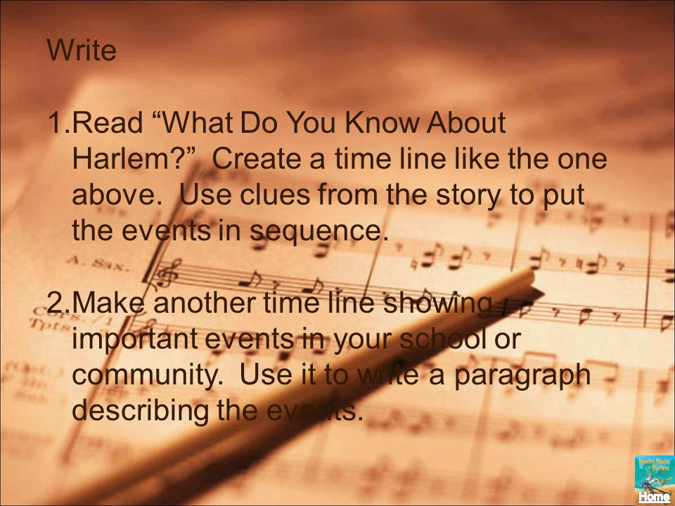 Write Read What Do You Know About Harlem Create a time line like the one above. Use clues from the story to put the events in sequence.