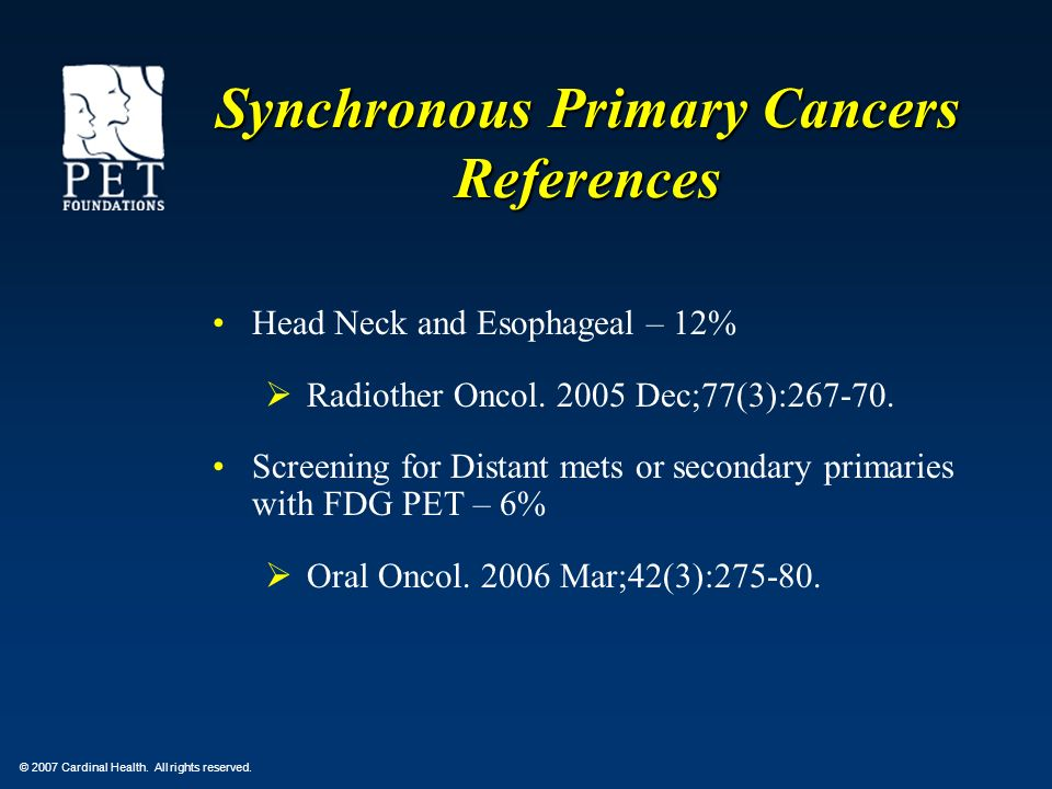 Synchronous Primary Cancers References