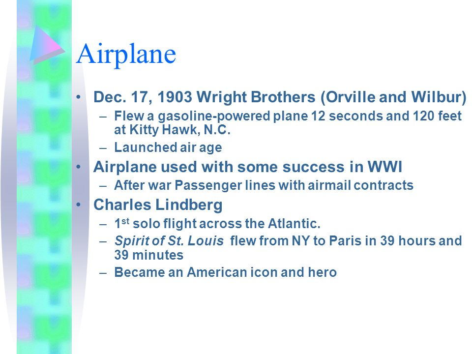 Airplane Dec. 17, 1903 Wright Brothers (Orville and Wilbur)