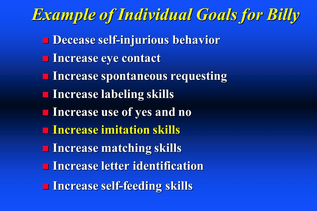Example of Individual Goals for Billy
