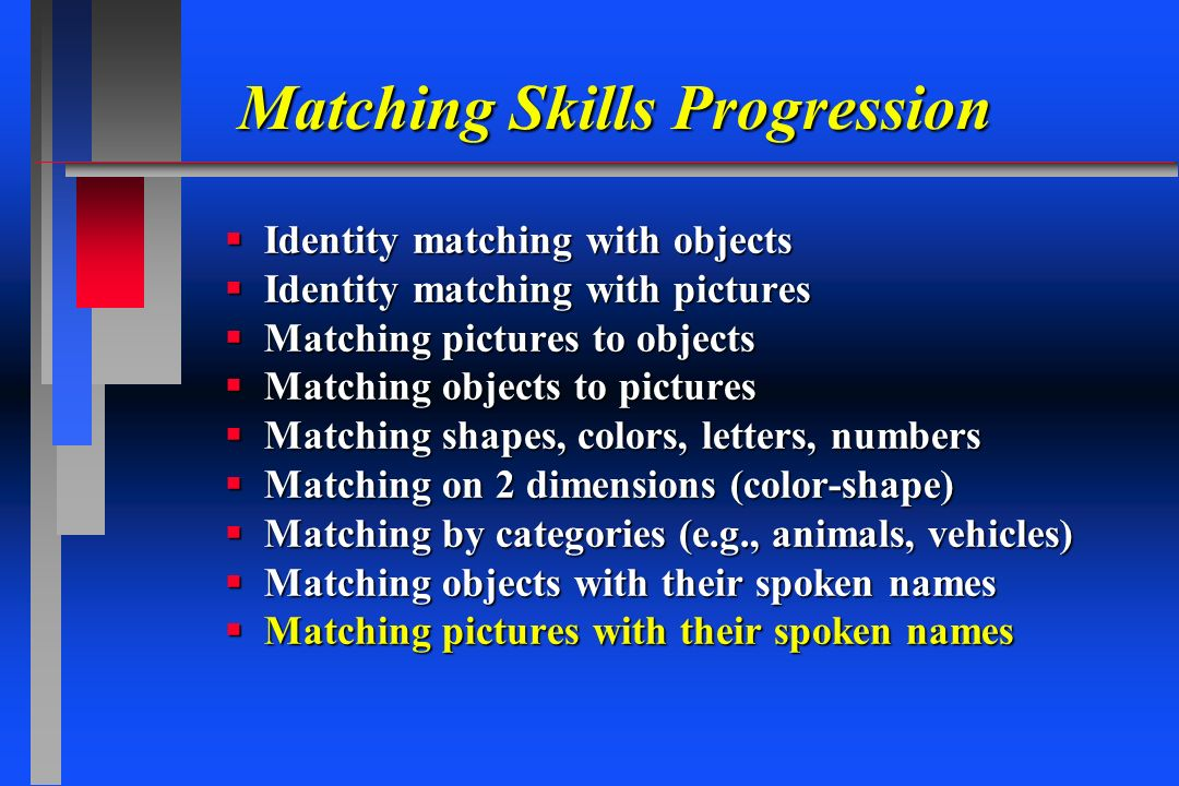 Matching Skills Progression