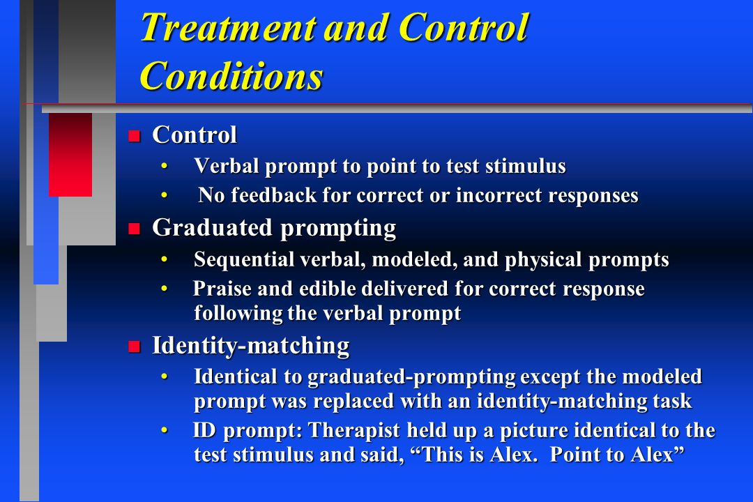 Treatment and Control Conditions