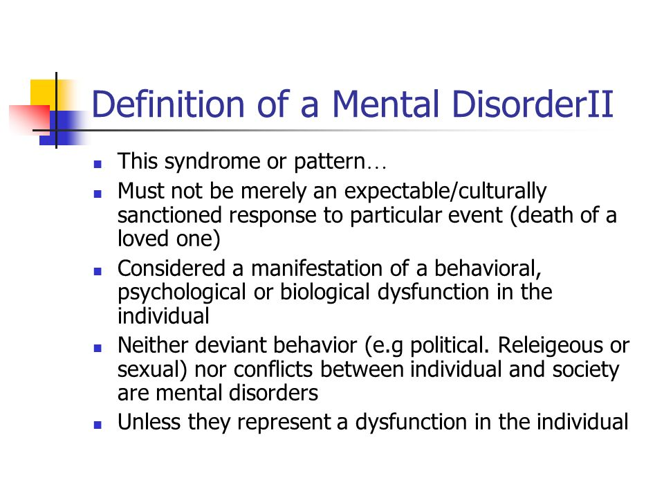 Definition of a Mental DisorderII