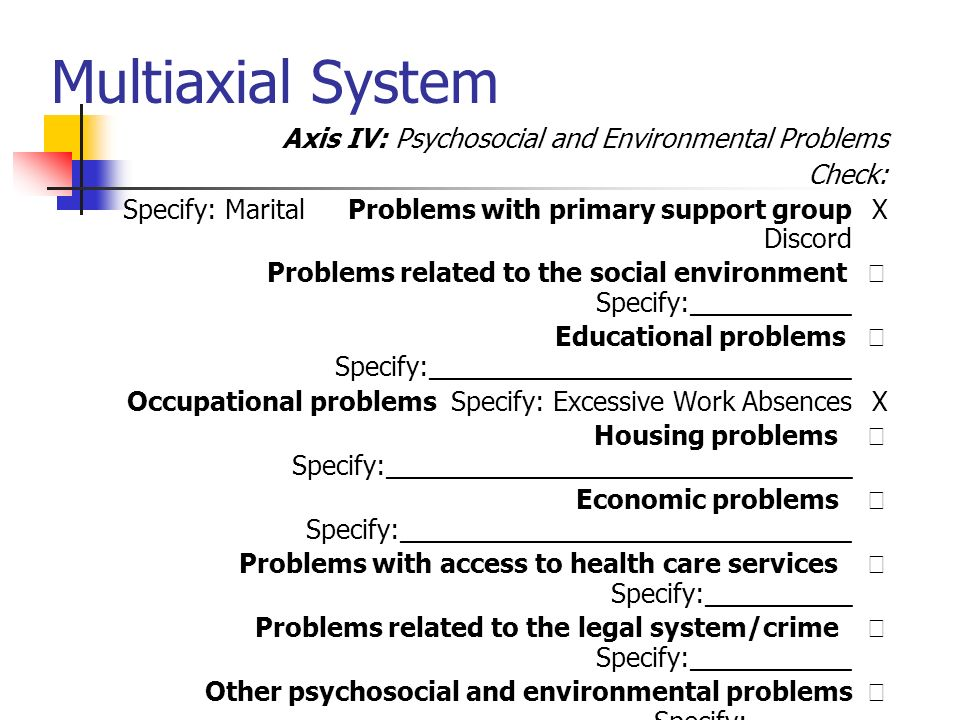 Multiaxial System Axis IV: Psychosocial and Environmental Problems