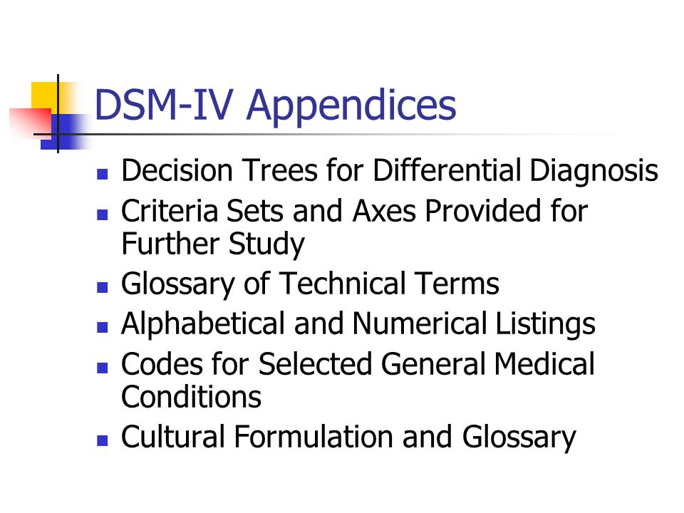 DSM-IV Appendices Decision Trees for Differential Diagnosis