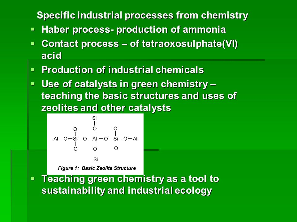 Specific industrial processes from chemistry
