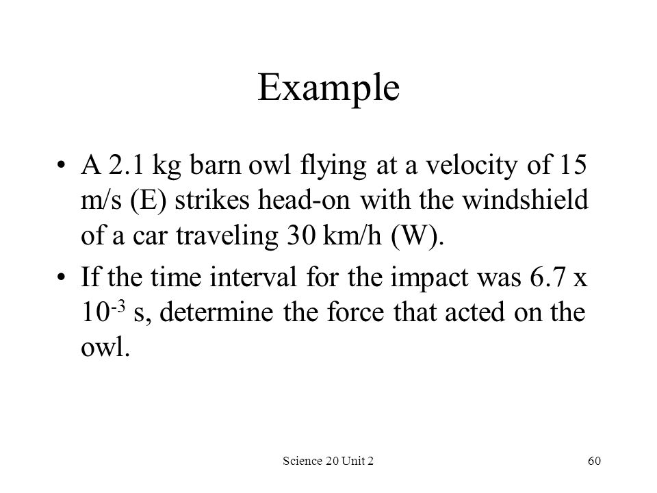 Example A 2.1 kg barn owl flying at a velocity of 15 m/s (E) strikes head-on with the windshield of a car traveling 30 km/h (W).