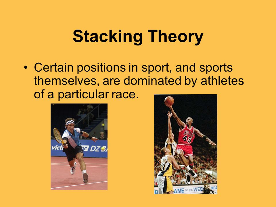 Stacking Theory Certain positions in sport, and sports themselves, are dominated by athletes of a particular race.